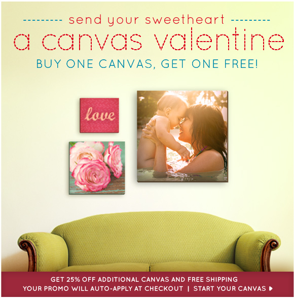Buy One Canvas, Get One Free plus free shipping!